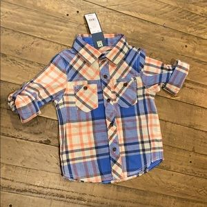 NWT Boys Blue and Orange Button Up